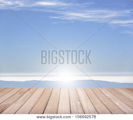 Empty wooden pier.