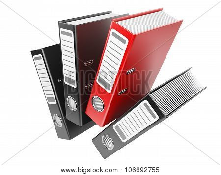 Modern Red And Black Office Folders With Documents