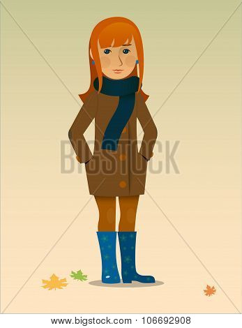 autumn Vector illustration of a pretty girl in rubber boots