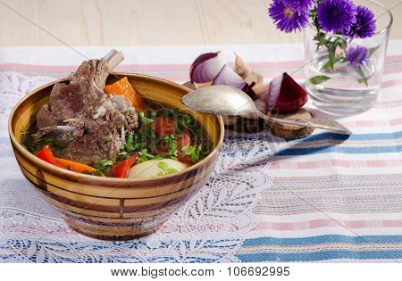 Soup Shurpa - Traditional Oriental Dish With Lamb
