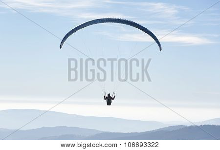 Paragliding in the sky.