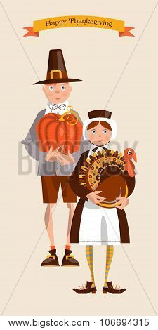 Cute Pilgrim Couple. Thanksgiving Card.