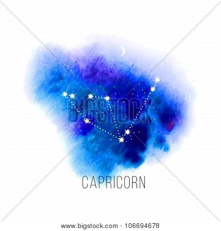 Astrology sign Capricorn on watercolor background