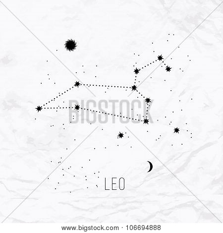 Astrology sign Leo on white paper background