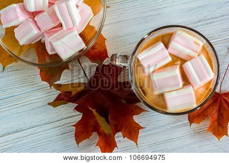Cacao And Marshmallows On Wooden Background