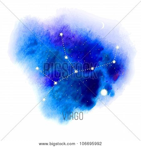 Astrology sign virgo on blue watercolor background