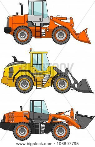 Set of wheel loaders isolated on white background in flat style. Heavy construction machines. Vector