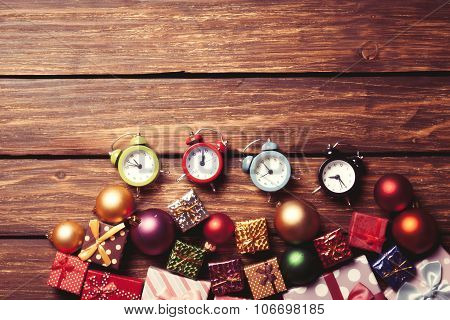 Alarm Clock And Christmas Baubles