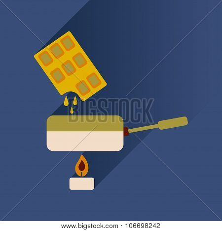 Flat with shadow Icon chocolate fondue on bright background