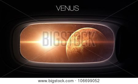 Venus - Beauty of solar system planet in spaceship window porthole. Elements of this image furnished