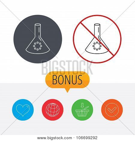 Laboratory bulb or beaker icon. Chemistry sign.
