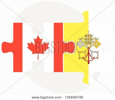 Canada And Holy See - Vatican City State Flags