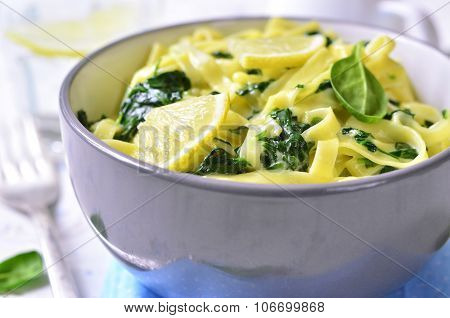 Homemade Egg Noodle With Spinach.