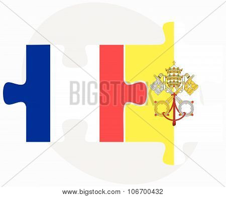 France And Holy See - Vatican City State Flags