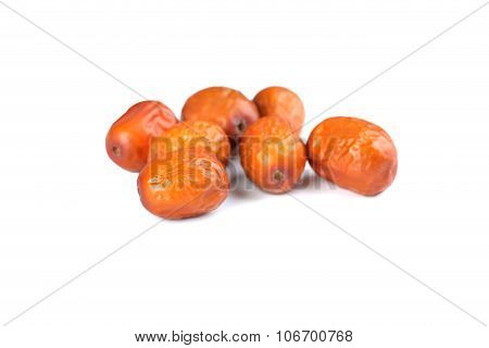 Ripe Jujubes Isolated On A White