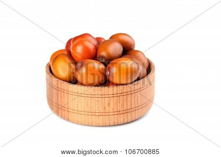 Ripe Jujubes In Bowl Isolated On A White