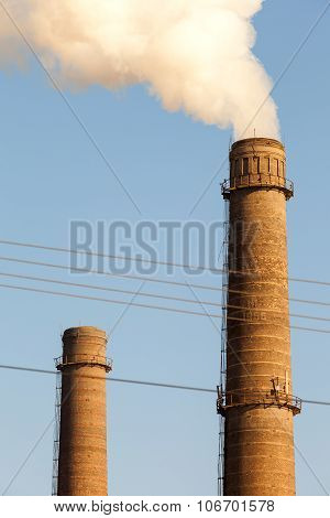 Chimney Smoke With Blue Sky