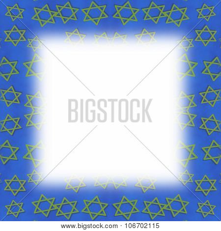 Blue frame with blurred trim decorated with golden six-pointed stars