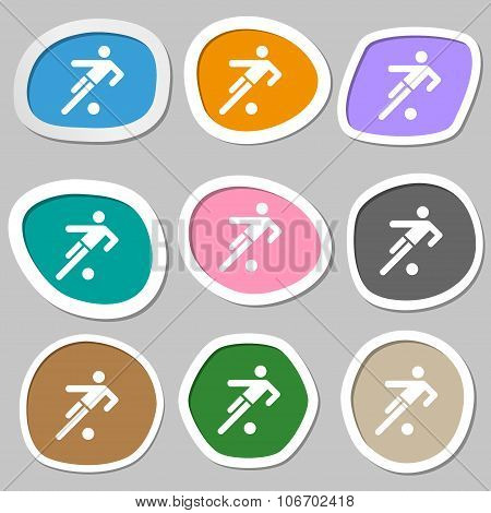 Football Player Icon. Multicolored Paper Stickers. Vector