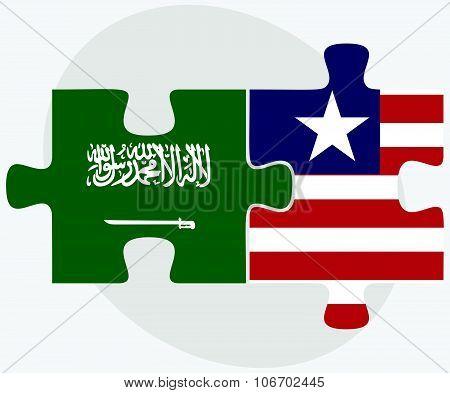Saudi Arabia And Liberia Flags