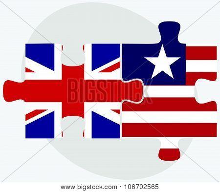 United Kingdom And Liberia Flags