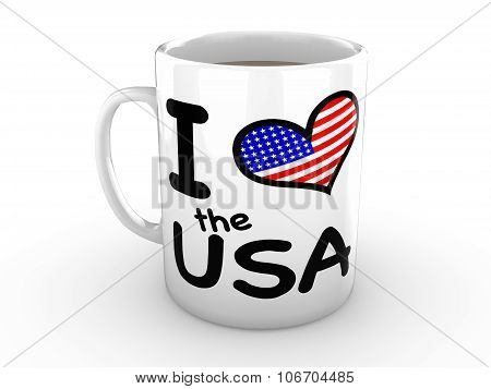 I Love The Usa - Union Flag Heart On White Mug