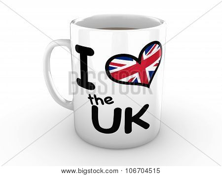 I Love The Uk - Red Heart On White Mug