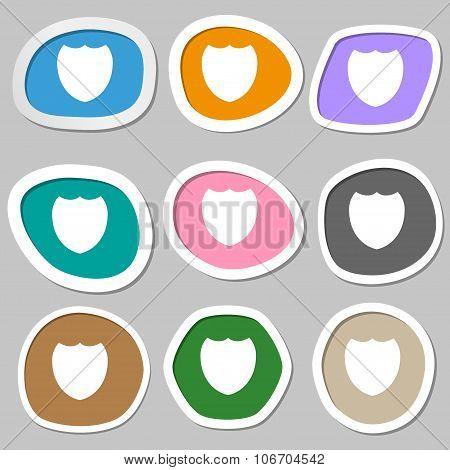Shield Sign Icon. Protection Symbol. Multicolored Paper Stickers. Vector