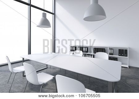 A Conference Room In A Modern Panoramic Office With White Copy Space In Windows. White Table, White