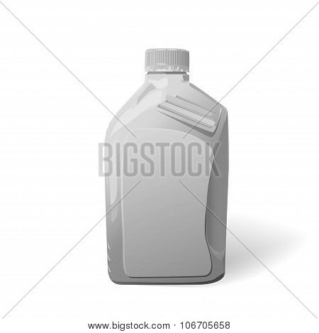 Blank white plastic canister for motor oil on  white background.