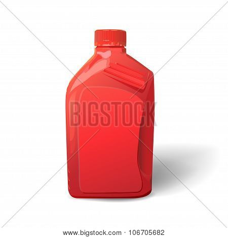 Blank red plastic canister for motor oil on white background.