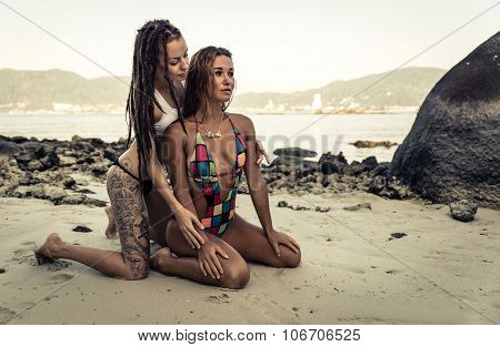 Two Hot Models Posing On The Beach