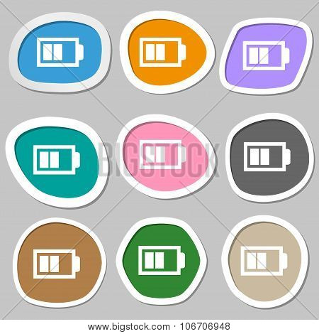 Battery Half Level Sign Icon. Low Electricity Symbol. Multicolored Paper Stickers. Vector
