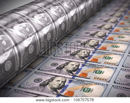 Printing money  - 100 dollar bills