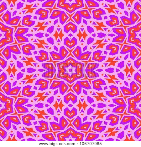 Pink orange floral wallpaper in art deco style