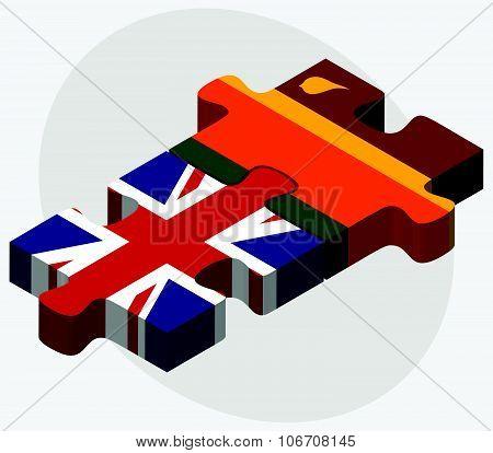 United Kingdom And Sri Lanka Flags