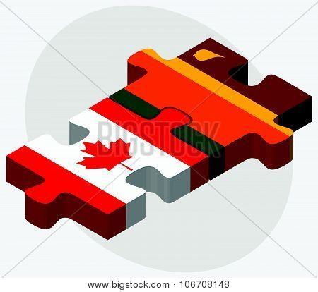 Canada And Sri Lanka Flags