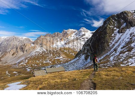 Hiking In The Alps, Colorful Autumn Season