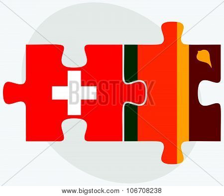 Switzerland And Sri Lanka Flags