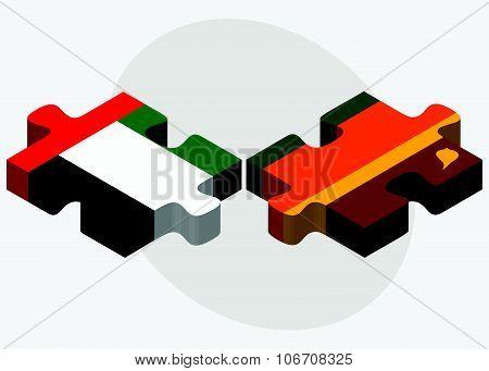 United Arab Emirates And Sri Lanka Flags