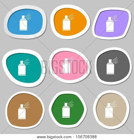 Graffiti Spray Can Sign Icon. Aerosol Paint Symbol. Multicolored Paper Stickers. Vector