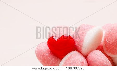 Pink Jellies Or Marshmallows With Sugar Closeup