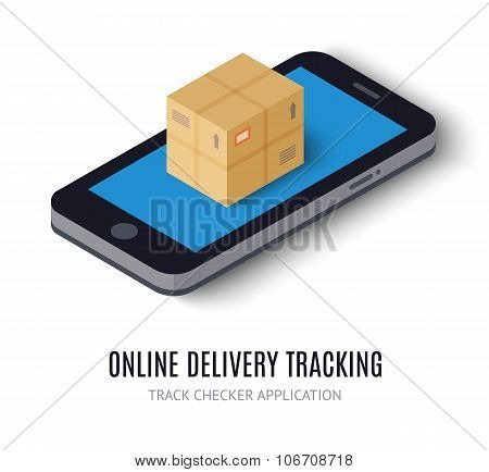 Online delivery tracking concept isometric icon. Vector