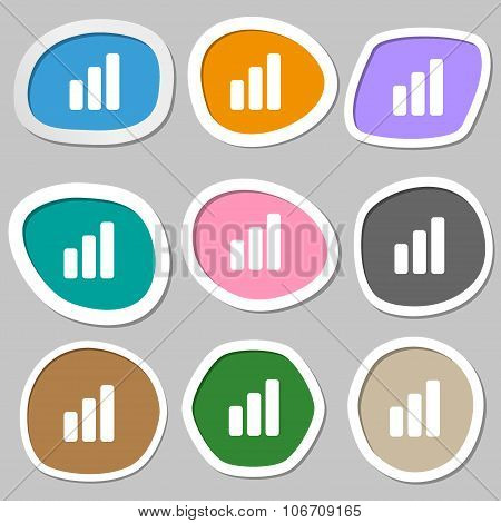 Growth And Development Concept. Graph Of Rate  Icon Symbols. Multicolored Paper Stickers. Vector