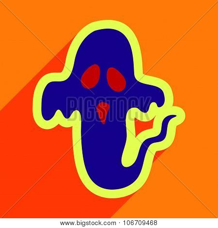 Flat with shadow Icon Ghost on a colored background