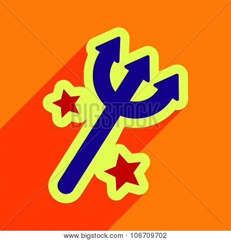 Flat with shadow Icon trident on a colored background