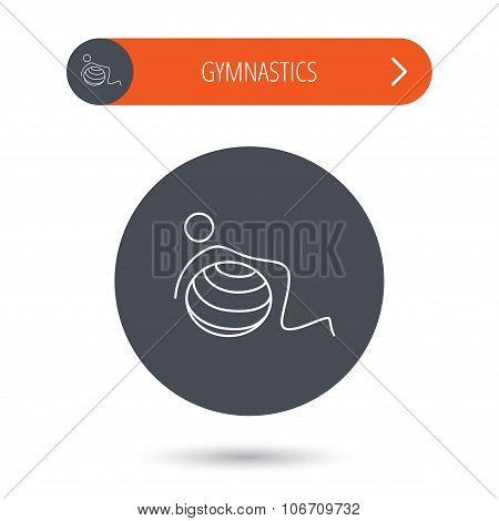 Gymnastic ball icon. Pilates fitness sign.