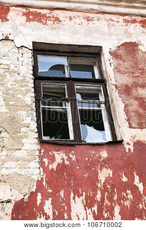 windows in an abandoned building