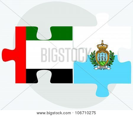United Arab Emirates And San Marino Flags