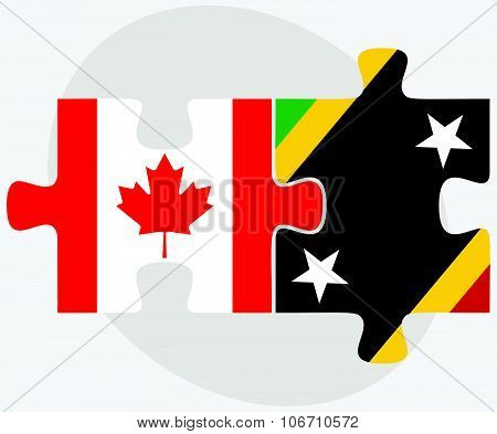 Canada And Saint Kitts And Nevis Flags
